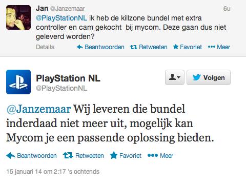 playstation 4 killzone bundel niet meer twitter